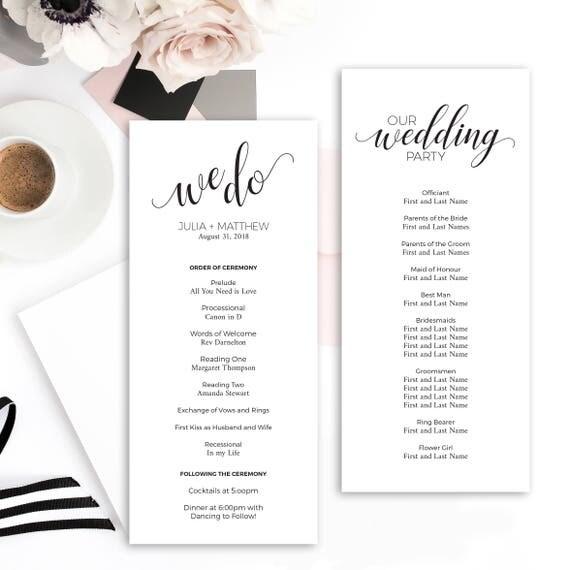 Wedding Program Template Wedding Printable Instant Download Editable ...