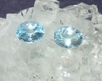 Blue Topaz Faceted Oval Gemstone 10mm x 8mm 2.85ct 0r 3.1ct