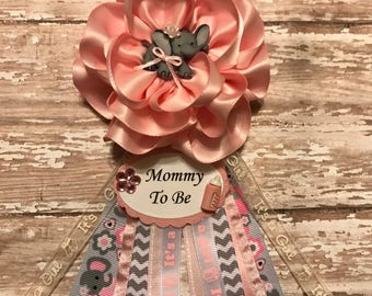 Elephant  Mommy To Be Corsage Baby Shower Elephant Theme Corsage Grandma To Be Corsage Its a Girl Baby Shower Corsage Pink Fabric Flower