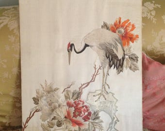 Outstanding beautifully fine antique Chinese silk thread bird embroidery~ amazing quality