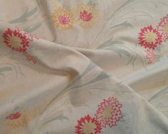 Lovely antique faded FRENCH Art Nouveau 1900s stylised floral textile fabric~ projects