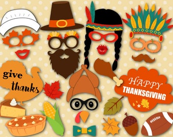 Instant Download Thanksgiving Photo Booth Props Printable Pilgrim Photo Booth Props Fall Festival PhotoBooth Props Pumpkin Turkey Props 0104
