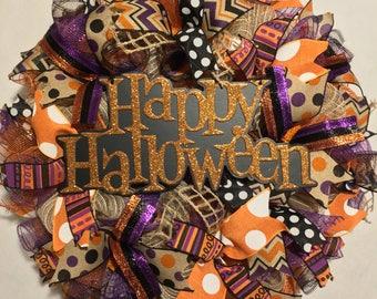 Halloween wreath, Halloween wreath, wreath, happy Halloween wreath, mesh Halloween wreath, Halloween door wreath, fall wreath, fall wreaths