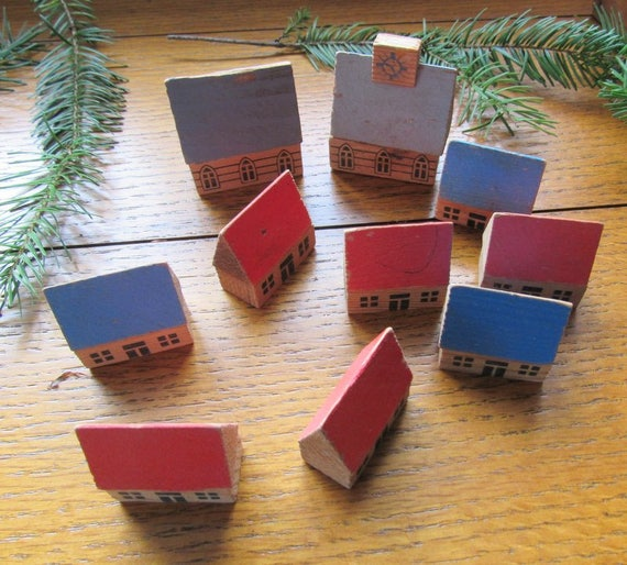 Ten Vintage Wood House Blocks
