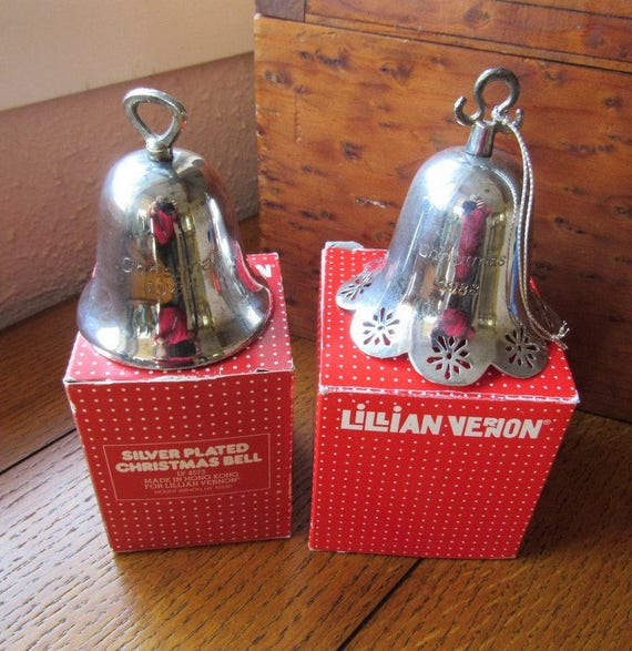 Two Silver Christmas Tree Bells Lillian Vernon 1984 and 1988 Free Shipping