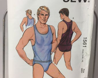 Kwik Sew Pattern 1561 Men's Tank Top and Briefs, Wrestling Style Back, Low Cut Briefs, Master Pattern uncut