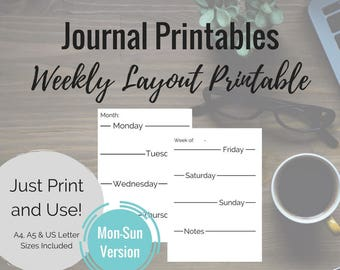"""Printable Journal Pages - Monday-Sunday """"Weekly"""" layout - for A4, A5 & US Letter size planners"""