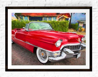 1955 Cadillac, Man Cave Wall Art, Convertible, Car Decor, Car Art, Car Prints, Classic Cars, Gift for Him, Man Cave Gifts, Man Cave Decor
