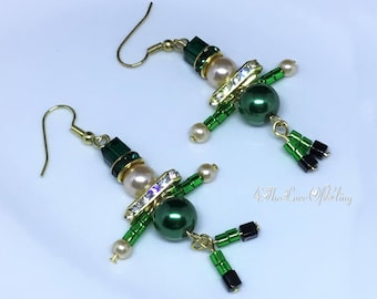 St Patrick's Day Emerald Green Leprechaun Earrings made with Swarovski Crystals, Pearls & Rhinestone Rondelles