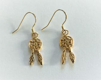 18ct Gold over Sterling Silver Dream Catcher Earrings.