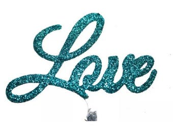 Love Wedding Cake Topper - TURQUOISE - valentines anniversary birthday