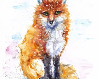 Original Watercolour Winter Fox Print or Greeting Card by Artist Be Coventry Wildlife Animal Art, FREE UK Postage