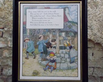"Vintage Nursery Rhyme Print Cat's In The Well Childs Room Decor PFV & Co 9"" x 11"""