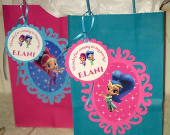 Shimmer and Shine inspired party, Shimmer and Shine favor bags, Set of 10