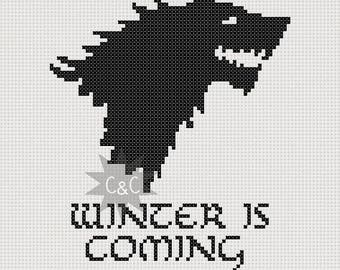 Game of thrones, game of thrones gift, game of thrones wall art, house stark, direwolf, winter is coming, winterfell, finished cross stitch