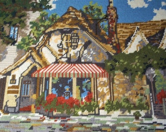 Large Needlepoint of an Old Village with Shops - Framed