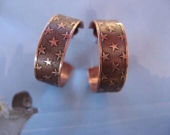Copper Hoop Earrings CE9547CO - 1 inch in diameter