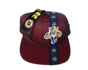 Vintage Florida Panthers Snapback hat Adjustable one Size Fits all OSFA strap back hat Cap deadstock New with tag embroidered drew pearson