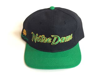 Vintage Notre Dame Fighting Irish sports specialties script snapback wool DSWT near deadstock