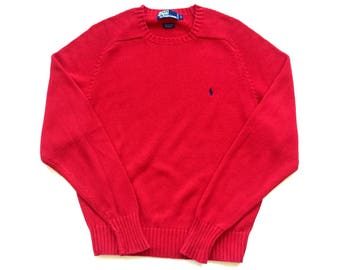 90s polo Ralph Lauren vibrant red 100% cotton knit sweater pullover sweat shirt size Small