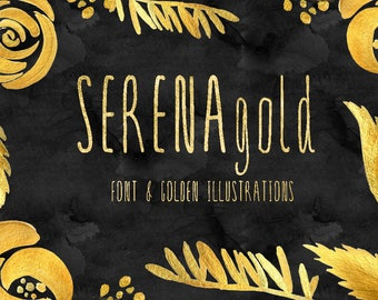 SERENA gold. Font & golden flowers. Handwritten typeface. Get these downloadable font and wonderful golden flowers perfect for wedding.