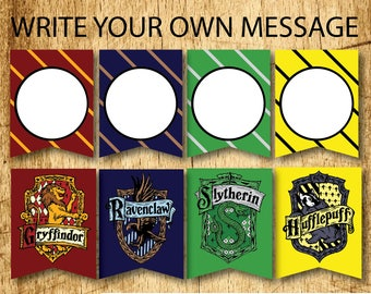 BLANK Harry Potter Printable Hogwarts House Bunting Banners  |  Gryffindor, Slytherin, Hufflepuff & Ravenclaw  |  Digital Download