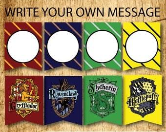 BLANK Harry Potter Printable Hogwarts House Bunting Banners  |  Gryffindor, Slytherin, Hufflepuff & Ravenclaw  |  Digital Download