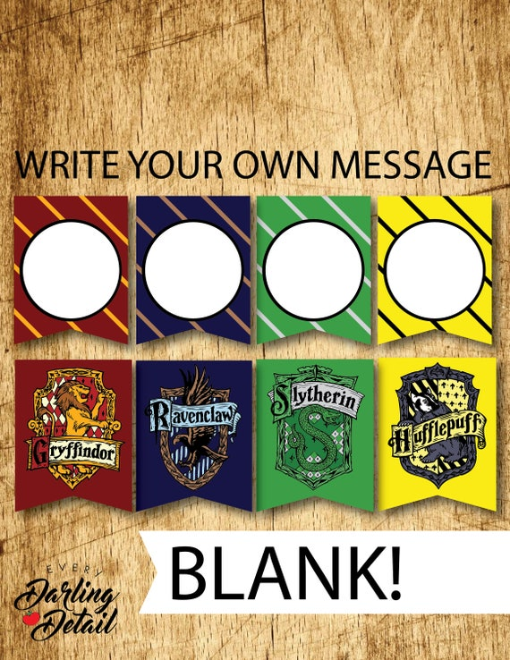 BLANK Harry Potter Printable Hogwarts House Bunting Banners