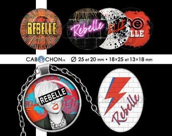 Rebelle • 60 Images Digitales RONDES 25 et 20 mm OVALES 18x25 13x18 mm rebelle stardust rock punk eclair mur épingle nourrice pink floyd