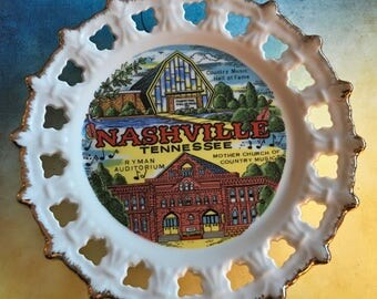 Vintage Nashville Tennessee reticulated display plate by Scotty made in Korea