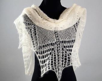 White Shawl,Hand Knitted Shawl ,Mohair Shawl,Party scarf,Wedding shawl,Women Shawl,Wedding ,Bridal accessories