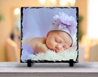 Your Photograph on Natural Slate Tile, Photographic Keepsake, Photo Memory Decor, Personalized Photo Decor, Photo Table Decoration