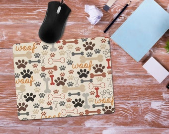 Gift for Dog Lover, Paw Prints and Bones Mouse Pad, Office Desk Accessories, Custom Personalized Mouse Pad, Office Computer Mousepad