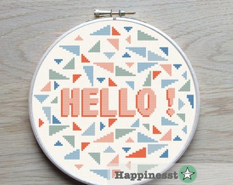 "modern cross stitch pattern ""Hello"" quote, easy cross stitch, funky, PDF  ** instant download**"