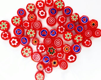 Scarlet Desire 50/100 Handmade Millefiori Glass Beads for Mosaic Decoration, Murano Lampwork & Jewellery (3-6mm thick and 5-12mm diameter)