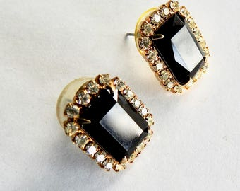 Rectangular Black and Clear Rhinestone Stud Earrings
