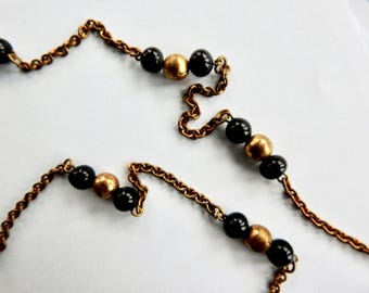 Black Glass and Brass Bead and Chain Flapper Necklace