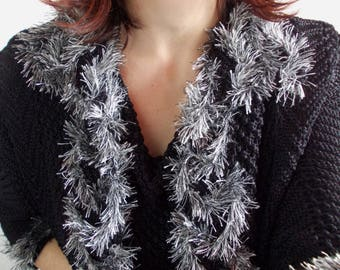 Black silver knit cardigan..boho chic, rustic, vintage, unique, elegant, feminine, knit sweater.