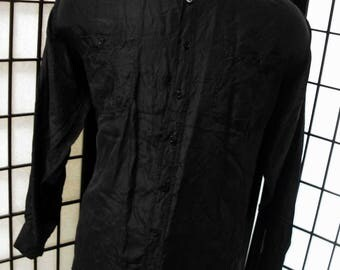 Bogari men's silk thin long sleeve 90's shirt XL