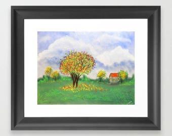 Art Print Homescape Autumn Trees in Field with Homestead