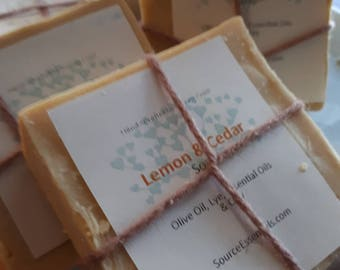 Hand Crafted LEMON & CEDAR Artesian Soap/ All Natural/ Gentle/ All Skin Types/ Olive oil/ VEGAN