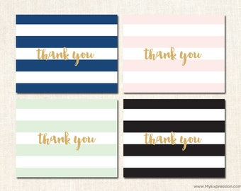 Elegant Stripes Thank You Cards in Black, Mint, Pink and Navy Blue - Baby Shower/Bridal Shower Thank You Cards - Set of 24 with envelopes