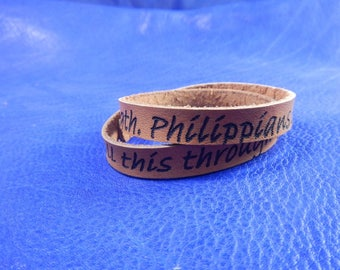 Wrap leather bracelet with bible verse Philipians , leather engraved bracelet, leather personalized bracelet, leather wrap bracelet