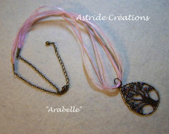 "Bronze ""Arabella"" necklace made of organza and pink strap, chain and charm set"