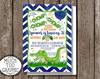 Alligator Birthday Invitation * CHOMP Party in the Swamp Birthday Invitation * Green and Blue * Crocodile Birthday Invitation *