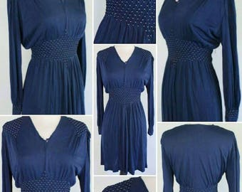 FLASH SALE****1940s Navy Blue Silk Jersey Evening Dress with Balloon Sleeves and Smocked Shoulders and Waist!