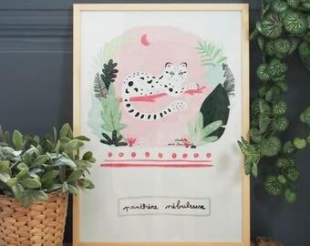 """Affiche en papier recyclé - """"Panthère nébuleuse""""  - Décoration / Maison / Chambre / Cadre mural /Poster/Tropical-Été-Jungle / Tigre - Animal"""