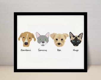 "11"" X 14"" Custom Pet Portrait Illustration, Dog Portrait, 4 dogs on 11x14 print"