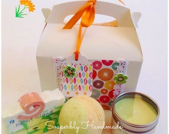Lime,, Mango and Coconut, gift box, Soap, Bath truffle, soy wax candle, bath gift, handmade