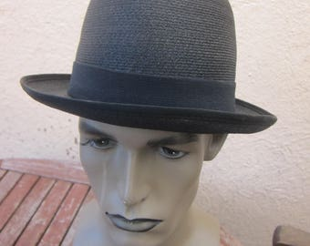 Size 7 3/8 ** Incredible 1950s High-End Black Straw Towncraft Fedora Hat